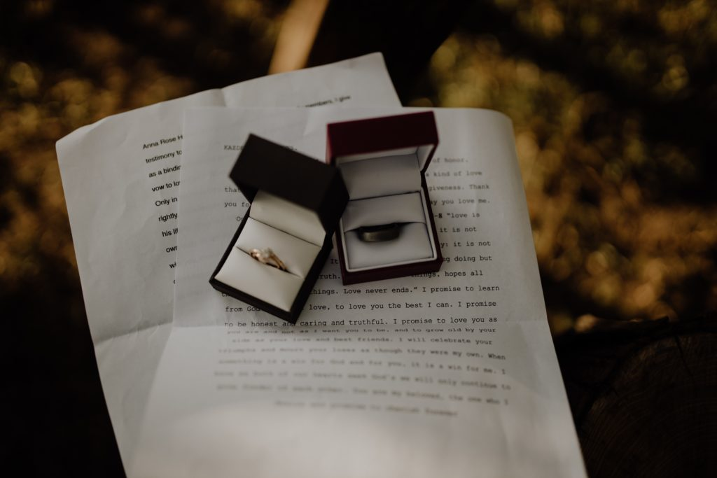 two engagement rings on a paper document